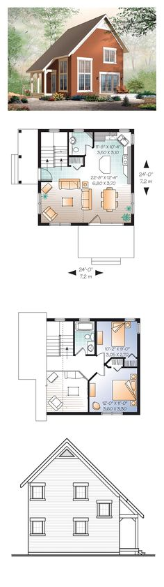 Narrow Lot House Plan 76149 | Total Living Area: 1050 sq. ft., 2 bedrooms and…