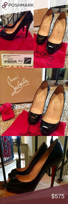 "ChristianLouboutin 👠👠VeryPrive 120PatentPump 6.5 Christian Louboutin Very Prive 120 Patent leather pump.  Size 36.5 or 6.5 American Standard.                           4.75"" stiletto heel with covered platform. Peep toe, Leather lining and footbed. Signature red leather outsole. 👠👠 ""New Very Prive"" is made in Italy🇮🇹.                                     💕Gently PreLoved💕 Purchased from Neiman Marcus Christian Louboutin Shoes Heels"