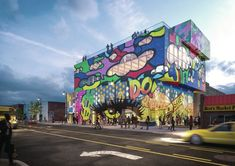 A Mixed-Use Project With a Vibrant Mural in Detroit, a Structured Villa in Iran, and a Wooden Pyramid in the Czech Republic   Architect Magazine Glass Building, Mix Use Building, Building Concept, S Brick, Food Hub, Glass Printing, Glass Facades, Brick Patterns, Custom Glass