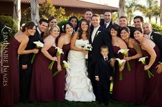 Bridal party in burgundy, burgundy color bridesmaid dresses, strapless and swishy, full length