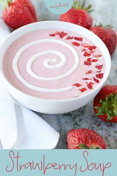 Strawberry soup is a summer favorite that can be made with fresh strawberries in the summer or frozen strawberries all year long. The yogurt and sour cream in this cold soup recipe adds the protein needed for kids lunch boxes. This is a blender soup recip Best Appetizer Recipes, Soup Appetizers, Delicious Dinner Recipes, Yummy Snacks, Easter Recipes, Sweet Recipes, Strawberry Soup, Strawberry Recipes, Strawberry Summer
