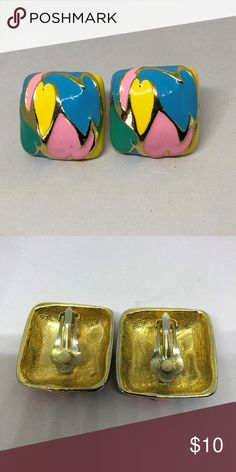 "Vintage 80'sRetro Colorful Enamel Clip-On Earrings Bring on the Padded Shoulders and Big Hair. These Earrings are Absolutely Screaming 80's Perfect Brightly Enameled 80's Colors 1"" square puffy top  padded clip earrings that are exceptionally well made but unmarked Jewelry Earrings"