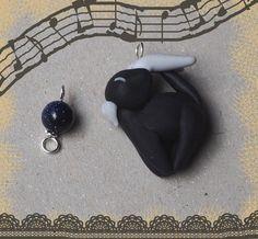 Mobile phone charm, polymer clay charm, miniature, Cute black Cat-Zodiac: Capricorn