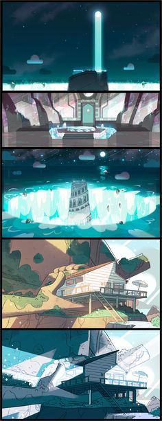 """A selection of backgrounds from the Steven Universe episode: """"Cheeseburger Backpack"""". Direction: Kevin Dart; Design: Steven Sugar, Emily Walus; Paint: Amanda Winterstein."""