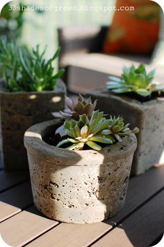 "Making Hypertufa Pots - Equal parts Perlite, Peat Moss & Portland Cement. Spray release agent on containers. Walls should be approx. 3/4"". Drill drainage hole."