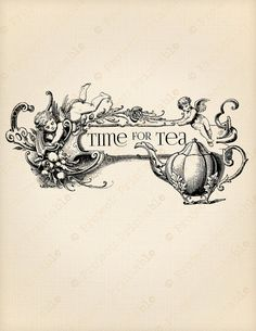 Vintage Time for Tea Teapot Angels Cherubs Printable Digital Image - Instant Download Fabric Transfer - Shabby Chic clipart