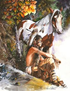 """""""Sunburst"""" by Peter Williams. A watercolour painting depicting a young Native American Indian boy watching the sun come up from a high point with his Indian pony beside him. Native American Horses, Native American Paintings, Native American Pictures, Native American Artists, Native American History, Indian Paintings, American Indians, Art Occidental, Eskimo"""