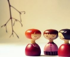 hand painted wooden dolls by Zime