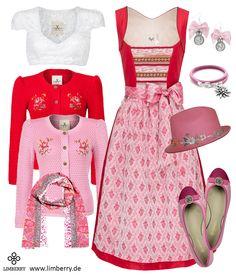 Für Damen die der roten Tracht nicht widerstehen können - das CocoVero Dirndl mit passenden Designer Accessoires!