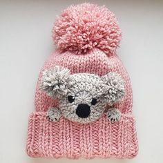Koala Şapka, Örgü Şapka, Kış Şapka, Pom Pom Şapka, Çocuk Kıyafeti, Kızlar Aksesuar, Kadın Şapka, Örgü Bere, Kış Modası, Sevimli Şapka, Hayvan Şapka