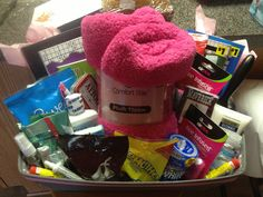 Gift basket I made for my neighbor who was diagnosed with cancer & is beginning her treatments. Also made her a loaf of banana bread. She texted me the next day to let me know how great a gift idea this was & that she even used the blanket that day at her first appointment. :) Blessed that I feel I helped in a small way.