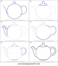 How to Draw a Teapot Printable Drawing Sheet by Art Drawings For Kids, Pencil Art Drawings, Doodle Drawings, Art Drawings Sketches, Easy Drawings, Hipster Drawings, Art Illustrations, Basic Sketching, Basic Drawing