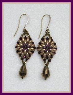 """Oh Earrings"" FREE Tutorial in English. Uses O-beads, SuperDuos, bicones, seed beads and other beads."