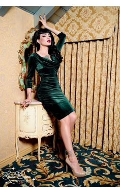 Film Noir Dress in Emerald Green Velvet - St. Patrick's Day Celebration - Collections | Pinup Girl Clothing