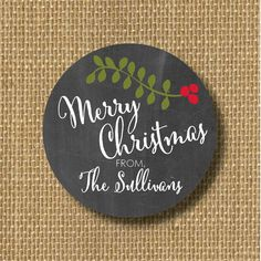 Pretty custom stickers for holiday gifts and cards on Etsy