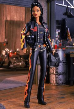 Harley-Davidson® Barbie® Doll. This is an exact replica of what I look like on the back of my sweetie's bike. Exactly.