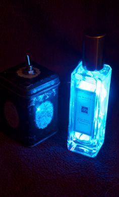 Jo Malone Perfume Blue Recycled Bottle Battery Powered LED Nightlight Lamp by RecycledDesignLondon on Etsy