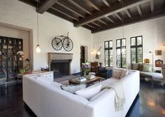 colors, windows and u shaped couch Sheryl Crow's Main Living Room Spanish Revival Home, Spanish Style Homes, Spanish Colonial, Spanish Modern, Sheryl Crow, U Shaped Couch, 3 Living Rooms, Living Spaces, Cozy Living