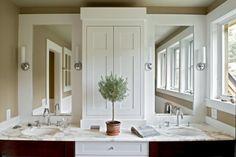Smith & Vansant Architects: Beautiful bathroom design with golden tan walls paint color, cherry bathroom cabinets, . Bathroom Mirror Makeover, Bathroom Mirrors Diy, White Bathroom, Modern Bathroom, Master Bathroom, Mirror Vanity, Diy Vanity, Budget Bathroom, Bathroom Storage