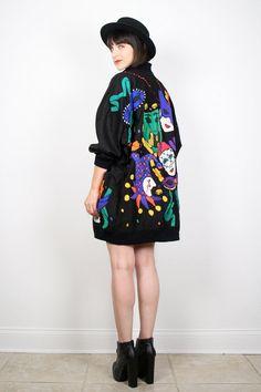 Vintage 80s Jacket 1980s Coat Black Rainbow by ShopTwitchVintage