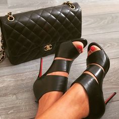 Christian Louboutin cut out bootie and Chanel bag