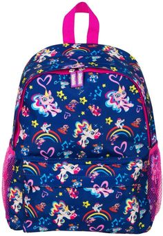 Printed Fingerlings Unicorn Backpack School Bag Pink and Blue School Backpacks, Baby Unicorn, Unicorn Print, Mochila Galaxy, School Pack, Packing A Cooler, Promotional Bags, School Bags For Girls