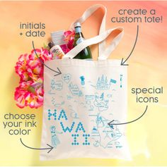Custom Wedding Tote by Maptote. Personalize our existing maps with your initials and wedding date, and even add special locations and icons!