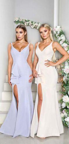 5e307d6fcbfb Sleeveless V-neck Mermaid Side Slit With Train Long Bridesmaid Dresses  ,PB1076. Cheap Bridesmaid Dresses