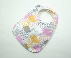 Baby Bib / Raindrop Baby bib / Cloud / BABY by TextileTrolley, $10.00
