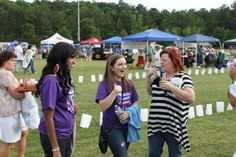 Julie Daniels interviewing teens during the Relay For Life.