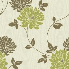 Fine Decor Madison Designer Feature Wallpaper Green / Cream / Brown