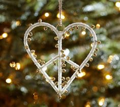 Jingle Bell Peace Sign Heart Ornament