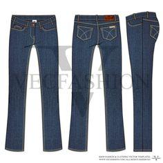Woman Regular Cut Denim Jeans Vector Template