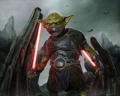 Dark Master Yoda (Star Wars) by Kurt Boutilier Star Wars Sith, Rpg Star Wars, Clone Wars, Saga, Star Wars Cartoon, Star Wars Characters Pictures, Star Wars Painting, Star Wars Concept Art, Star Wars Girls