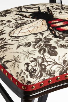 Unique Chair by Gucci Hand Embroidered Bee on Black Herbarium Fabric | From a unique collection of antique and modern chairs at https://www.1stdibs.com/furniture/seating/chairs/