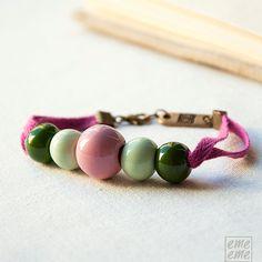 Bracelet Ceramic Beads pink by emeeme on Etsy, $21.00
