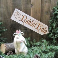 Rabbit Hole Lawn Ornament Sign - Alice in Wonderland Easter Bunny Spring Picnic Family Ostara - Decoration Cedar Wood Holiday Decor