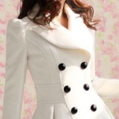 Bebe white wool coat **final price** Black fur collar can be added and removed. Excellent used condition.no issues. Could use a trip to dry cleaners.  Short waist hip length, not long.. Jackets & Coats