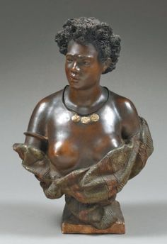ÉDITION F. GOLDSCHEIDER. VIENNE VERS 1900 BUSTE DE FEMME AFRICAINE Épreuve