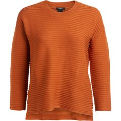 Rib Knit Sweater ($33) ❤ liked on Polyvore featuring tops, sweaters, ribbed sweater, ribbed knit top, rib knit sweater, boxy sweater and orange top