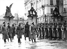 Adolf Hitler on his visit to Prague Castle after the establishment of a German protectorate.The Protectorate of Bohemia and Moravia was the majority ethnic-Czech protectorate which Nazi Germany established in the central parts of Bohemia, Moravia and Czech Silesia in what is today the Czech Republic.