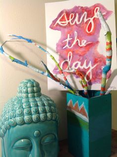 original watercolor artwork of inspirational quote- diy craft twigs and peaceful blue buddha head.