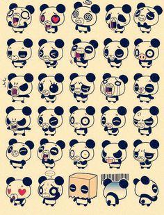 Cute and adorable cartoon Panda expressions.