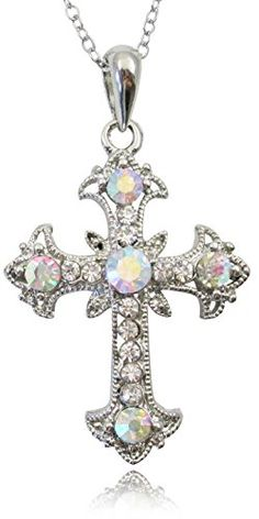 Beautiful Silver Tone Clear and AB Crystals Filigree Cross Necklace for Girls Teens Women ** Read more at the image link.