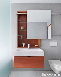 There's a geometric simplicity to the Axor Starck fixtures in the shower.