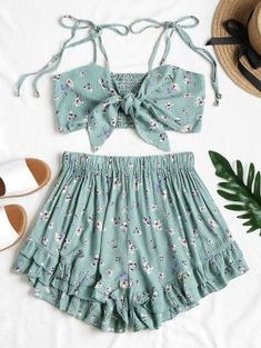 No Summer Floral Flat Elastic High Sleeveless Spaghetti Regular Fashion Casual and Daily and Going Tie Front Floral Top and Shorts Set - Top - Teenage Girl Outfits, Girls Fashion Clothes, Teen Fashion Outfits, Girl Fashion, Teenager Outfits, Trendy Fashion, Latest Fashion, Fashion Trends, Crop Top Dress