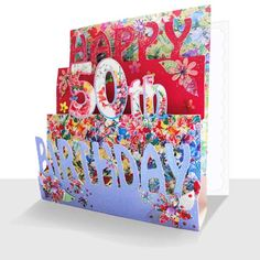 50th Birthday Card 3D Luxury Pop Up Handmade Unique Greeting Cards Online 3d