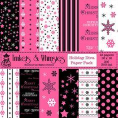 Holiday Diva Christmas Digital Scrapbook by TrinketsAndWhimsies, $1.99