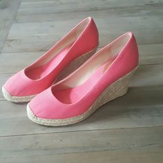 """J.Crew Canvas  Espadrille Wedges Great confition.Minor wear inside as seen in pic 2...barely noticeable. Canvas upper 3.75"""" heel and rubber sole. J. Crew Shoes Espadrilles"""