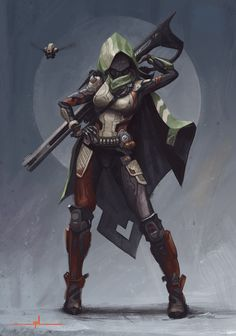 A personal work for my concept art for games portfolio. An original sci-fi character with a slightly cyberpunk samurai feel. I like to make my paintings look less digital and more traditional with the use of custom brushes these days. Character Design References, Game Character, Character Concept, Game Concept Art, Destiny Comic, Destiny Game, Destiny Ii, Concept Art Landscape, Destiny Hunter